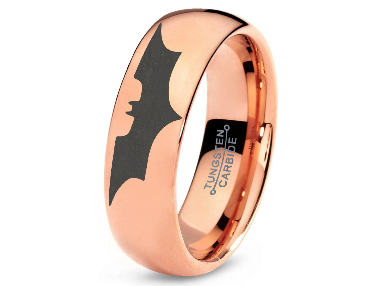 batman tungsten wedding band ring mens womens domed polished 18k rose gold fanatic geek anniversary engagement captain america wedding band Full size