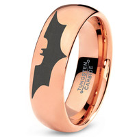 Batman Tungsten Wedding Band Ring Mens Womens Domed Polished 18K Rose Gold Fanatic Geek Anniversary Engagement