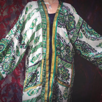Green Bohemian Kimono Sari Boho Hippie Robe Beach Coverup Chic L XL Plus - Free Shipping