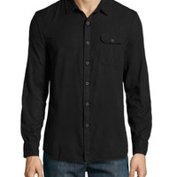 Long-Sleeve Garment Dyed Sport Shirt, Black