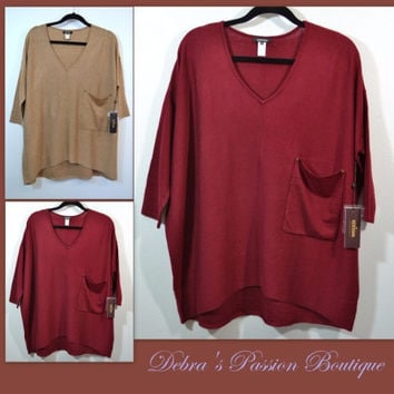 Kerisma Raven Slouchy Knit Sweater Pocket Top-Cherry Red or Camel