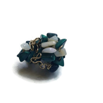 Malachite and Opal Ring in a Gold Wire Wrapped Design - Size 6 - RIN081