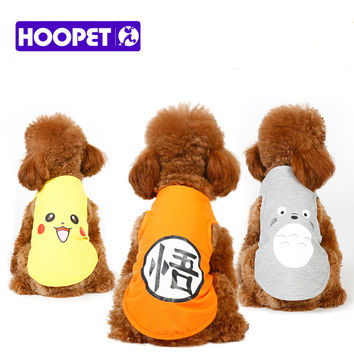 HOOPET Brand dog Pet cat Clothes Light Vest Pikachu Pokemon Dragon Ball costume dog cosplay funny dress poodle pitbull Maltese