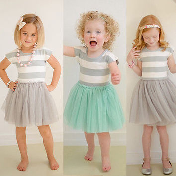 Baby Girls Toddler Kid Clothes Dresses Summer Sleeveless Princess Striped Ball Gown Cute One-piece Dress Formal 2 3 4 5 6 7 Year