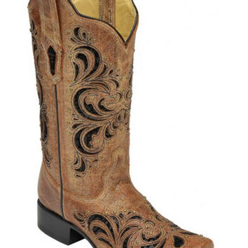 Corral Distressed Cognac Sequin Studded Cowgirl Boots - Square Toe