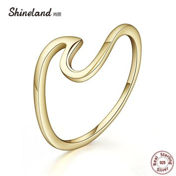 Shineland Brand Simple Wave Gold Silver Color 100% 925 Sterling Silver Finger Rings Women Girl Fashion Bijoux Party Wedding Gift