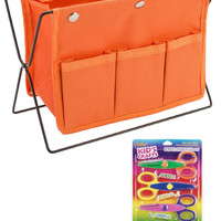 Orange Desk Stationary Arts & Crafts Organizer with 4-Pack Small Craft Border Scissors