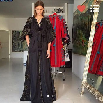 20% OFF Vita Kin style Bohemian Linen Folk Embroidery black maxi Dress Boho Vyshyvanka embroidered. XS-XxL. Model Fashion street style