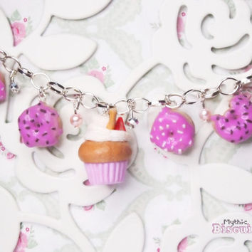 Doughnuts and cupcake charm bracelet