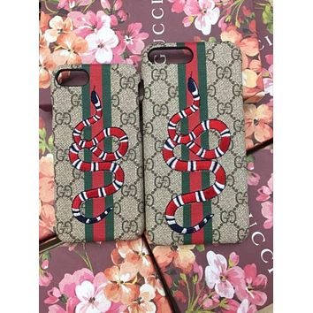GUCCI Fashion Print Embroidery iPhone Phone Cover Case For iphone 8 8plus iPhone6 6s 6plus 6s-plus iPhone 7 7plus F