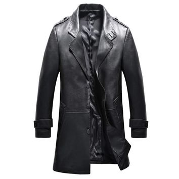 2016 new arrival autumn 100% real Leather Sheepskin trench coat men,Leather  jacket men