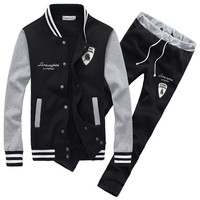 Stripe Trim Jacket Sweatsuits Sweatpants Matching Sets
