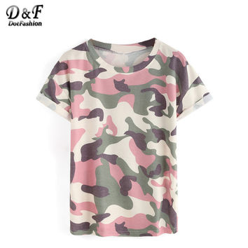 Dotfashion Woman Tops Camouflage Summer Style 2016 New Arrival Casual Tees Crew Neck Print Rolled Short Sleeve T-shirt