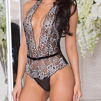 Deep V lace teddy Lingerie