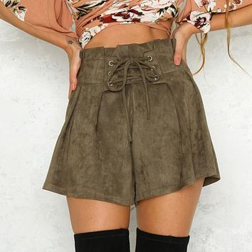 Lace Up Elastic High Waist Casual Shorts Women Shorts Lady Loose Short Pants