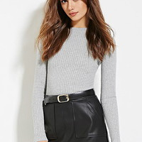 Contemporary Mock Neck Ribbed Sweater