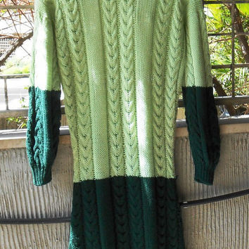 Knitted dresses,light and dark green,  in soft Merino wool