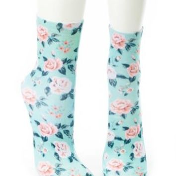 Floral Print Crew Socks by Charlotte Russe - Mint