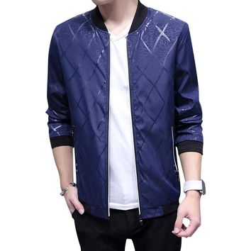Bomber Jacket Men 2018 Spring Casual Jacket Stand Collar Print Coats Male clothes Mens Coats And Jackets Slim Fit Windbreaker