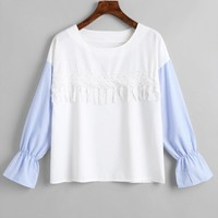 Lace Panel Striped Sleeve Blouse