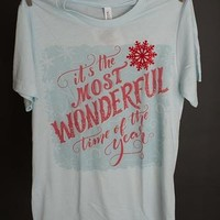 """Gina """"It's The Most Wonderful Time"""" Ice Blue Crew Tee"""