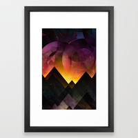 Whimsical mountain nights Framed Art Print by HappyMelvin