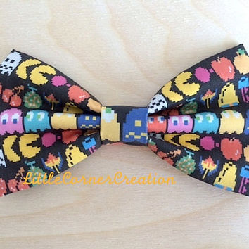 Pac Man Inspired Hair Bow or Bow tie