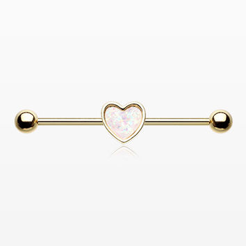 Golden Opal Sparkle Heart Industrial Barbell