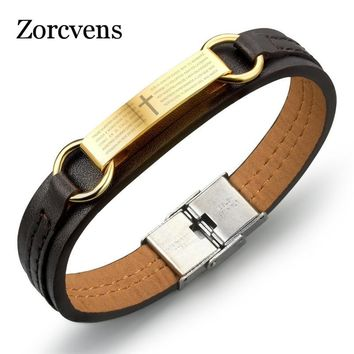 ZORCVENS PU Leather Man's Bracelet Classical Gold-Color Stainless Steel Cross + Holy Bible Design Men's Jewelry Gift