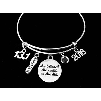 13.1 or 26.2 Marathon Jewelry Adjustable Bracelet Expandable Silver Charm Bangle Trendy Race Runner One Size Fits All Gift