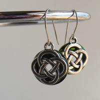 celtic knot earrings: green - dangle earrings - irish earrings - celtic jewelry - endless knot - unique gift - mothers day