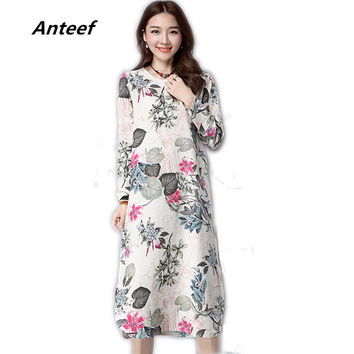 Cotton linen vintage print plus size women casual loose long summer autumn dress vestidos femininos party  dresses