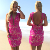 Marquee Crochet Dress In Fuschia