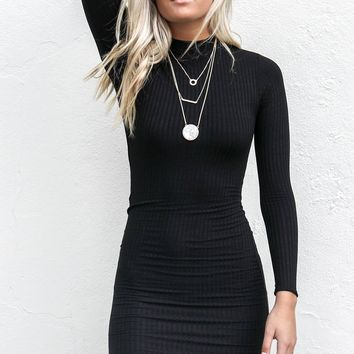 Better Believe It Black Ribbed Dress With Open Back