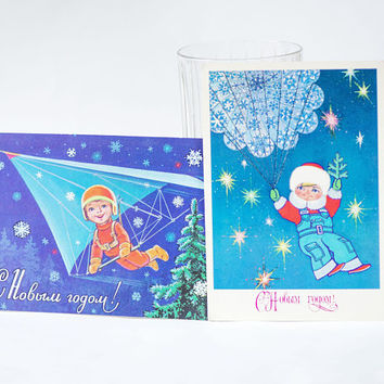 New Year's postcards Flying greetings, vintage Russian Happy Holidays postcards set 2, parachutist postcard blank, hang gliding boy greeting