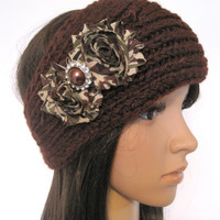 chocolate Brown Knit Ear Warmer Head Wrap Headband with CamouflageFlowers and Matching Brown Rhinestone Accent