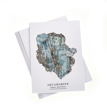 Aquamarine Shard - A6 Illustrated Postcard with Stickers