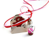 Valentines Bottle Necklace with Heart Charm Red, Pink, White, Glitter, Cork Jar, Glass Bottle, Love Note