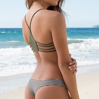 L*Space Swim - Itsy Reversible Bottom | Fern Stripe