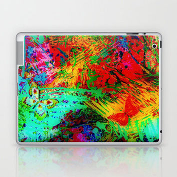 BUTTERFLY FEVER - Bold Rainbow Butterflies Fairy Garden Magical Bright Abstract Acrylic Painting Laptop & iPad Skin by EbiEmporium | Society6