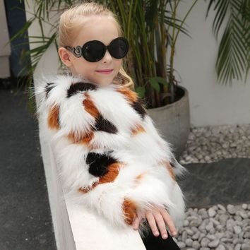 Kids Girls Winter Coat Faux Fur Coat Jacket Thick Warm Outwear Kids clothing Girl Clothes drop ship