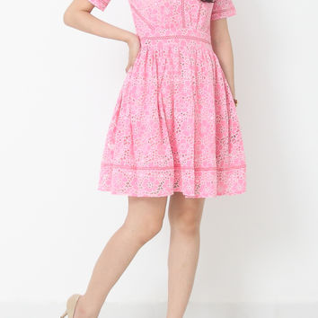 WILMA Eyelet Shift Dress in Pink