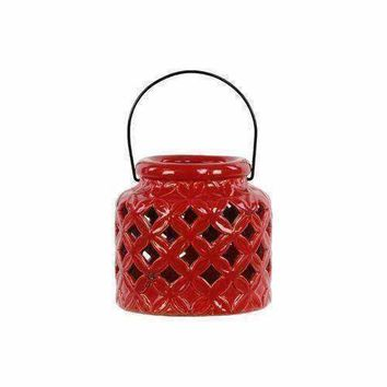 13609 Ceramic Lantern With Metal Handle - Red