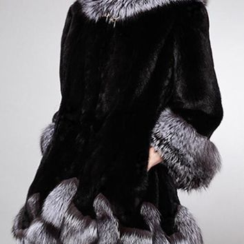 New Black Hooded Long Sleeve Fashion Faux Fur Coat