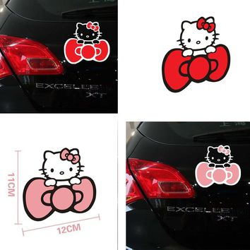 Car Sticker Cute Hello Kitty Reflective Bowknot Decal Lovely Styling Car Accessories