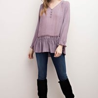 Ruffled Hem Boho Top