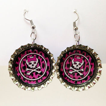 Bottle Cap Earrings Girl Skulls Pink Leopard Cheetah Print Purple