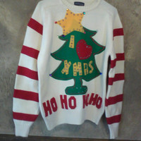 Grinch Ugly Christmas Sweater  Large to X Large  Ready to Ship  One of a Kind Ugly Sweater Party Contest Winner
