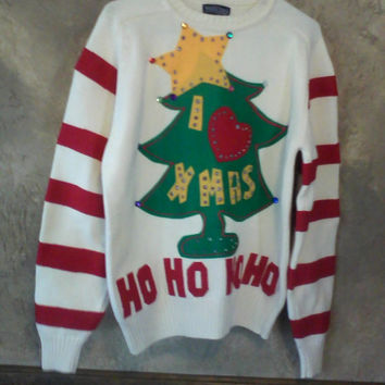 grinch ugly christmas sweater large to x large ready to ship one of a kind ugly - Grinch Ugly Christmas Sweater
