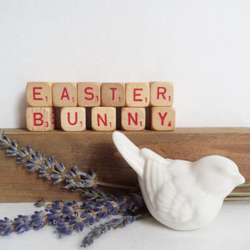Vintage Letter Cubes EASTER BUNNY Home Decor Spring Wooden Red Supplies Crafts Gift Idea Shabby Chic